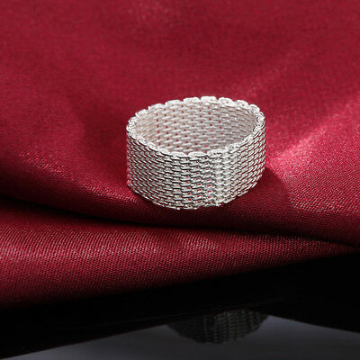 Fashion 925 sterling Silver wedding Ring jewelry NICE Cute mesh hot lady gift