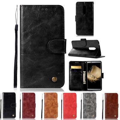 Luxury PU Leather Flip Wallet Stand With Strap Card Cover Case For ZTE Axon 7