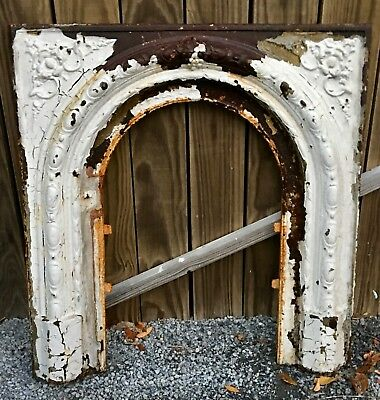 Cast Iron Fireplace arch Surround Summer Cover high relief marked 33""