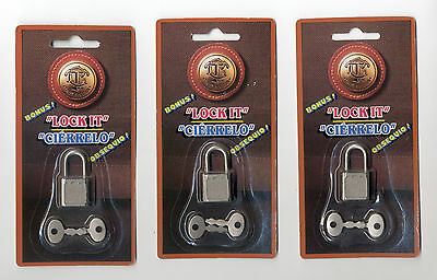 Lot of 3 NOS Travelers Club Small Mini Tiny Padlock w/ 2 Keys