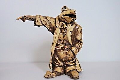 Vintage Antique Hand Carved Whimsical Frog Figure 8 inch tall Bow Tie Coat Rare