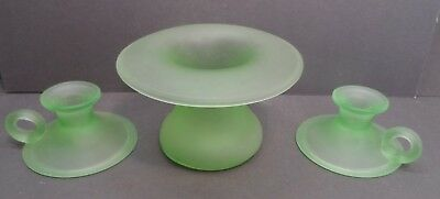 Tiffin Glass Green Satin Glass Sweet Pea Vase & Matching Handled Candleholders