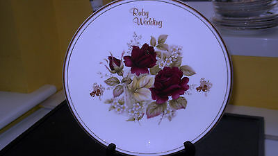 Fenton China Decorative Plate For A Ruby Wedding  With Dark Red Roses