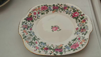 Crown Staffordshire Twin - Handled Bread Plate In Thousand Flowers Pattern