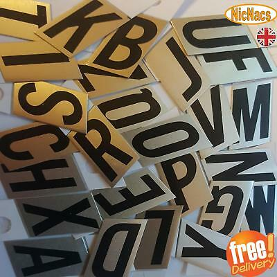 Black / Gold Stick On Self Adhesive Metal Letters House Door Sign Home Work UK