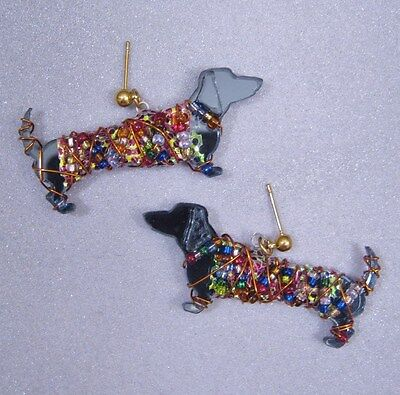 "Dachshund Earrings ""Lucky Dogs"" Gray New Orleans Artist Bentley Lovelace"