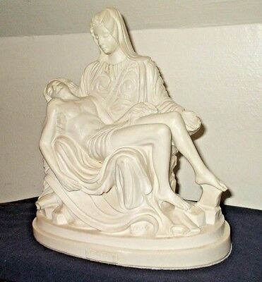 Vintage Hand Carved Alabaster Statue Of Michelangelo's Pieta By A. Giannetti