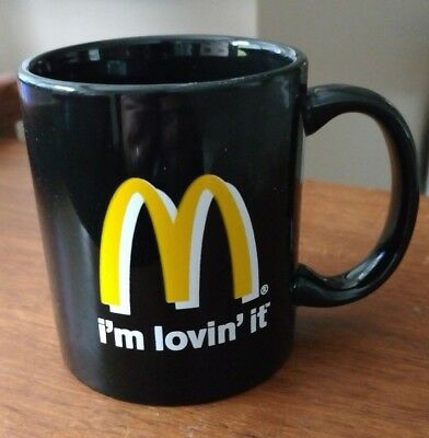 I'm Lovin' (Loving) It - McDonald's Golden Arches Black Ceramic Mug, Never Used