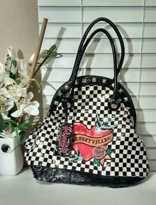 Betseyville by Betsey Johnson Large Travel Checkered Shoulder Bag Purse