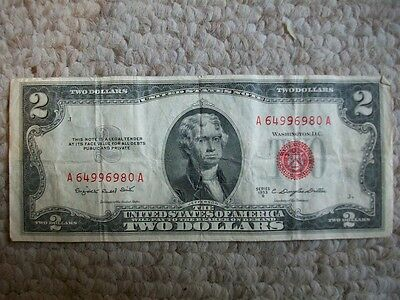 1953 B $2 Red Seal United States Note US Currency Legal Tender Two Dollar Bill