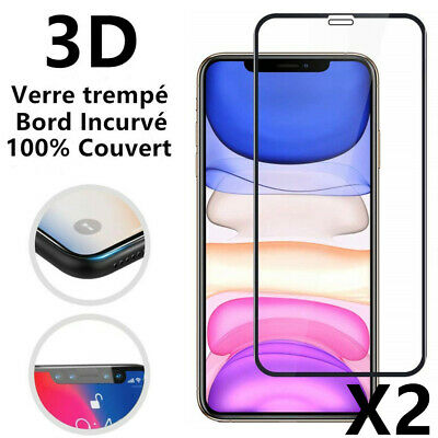 Full Cover Verre Trempé Film protection écran iPhone XR X XS Max 3D Glass- Pack2