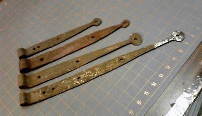 4 Primitive Iron Barn Door Strap Hinges Hand Forged Wrought 1850 Era Antique