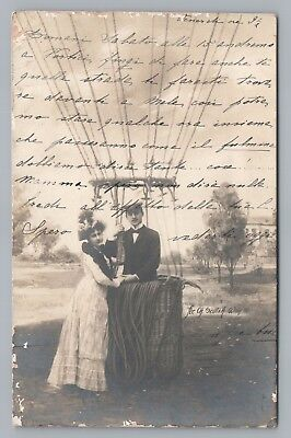 Hot Air Balloon Couple RPPC Antique French Photo CPA Series 1000 UDB 1900s