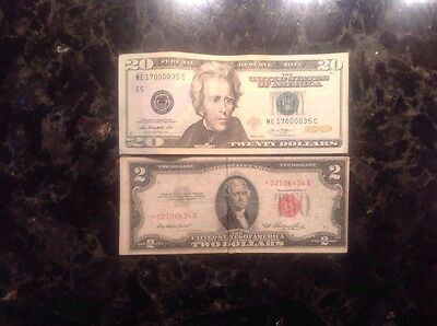 2013 $20 FRN - Fancy Serial# ME17000035C + 1953 $2 USN - STAR NOTE