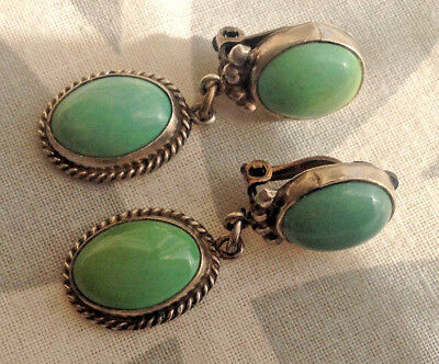 "Vintage  Art Deco sterling silver Green Turquoise clip dangle erarings 1.5"" long"