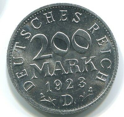 Germany C029 1923 D, 200 Mark uncirculated coin UNC, additional items ship free!