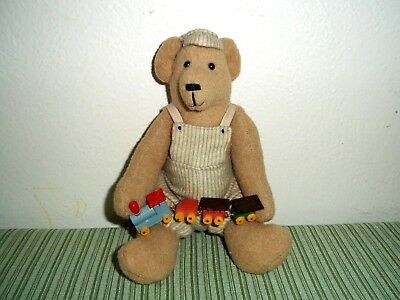 Tammies' Teddys' Handmade Clothed Bear Holding Handmade Wooden Train Ooak