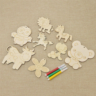 DIY Wood Tags Graffiti Embellishments Craft Christmas Party Room Decoration