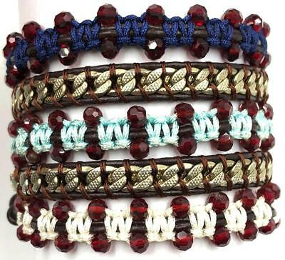 34 inches crystal Beads Leather 5 Wrap compile cuff Bracelet Bangle Chain
