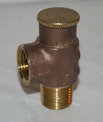 """75 Psi Brass Pressure Relief Valve 1/2"""" NPT Inlet/Outlet"""