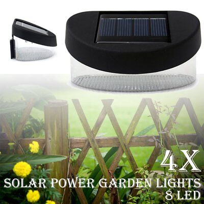 8 LED Outdoor Garden Pathway Lights Wall Solar Power Fence Gutter Light Lamp 4x