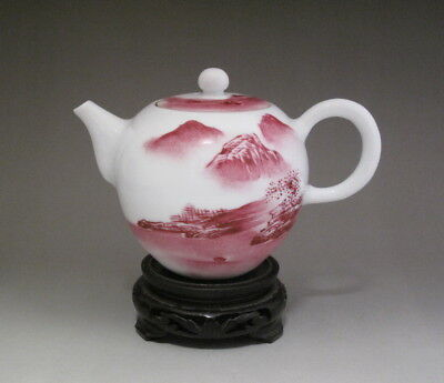Nice Chinese Antique Hand painted Rouge Red Porcelain Teapot