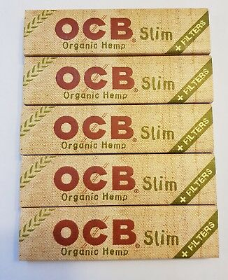 Brand New Ocb Rolling Papers Organic Hemp Lot Of 5x32 Booklets King Size+Tips