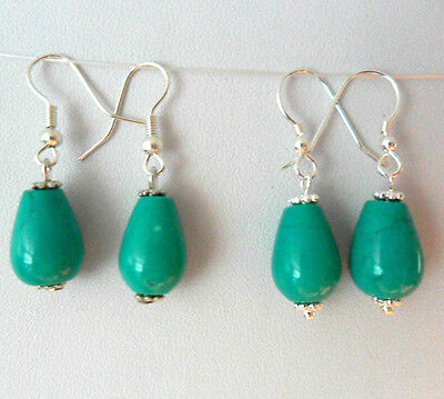Turquoise gemstone earrings - Sterling silver or plated