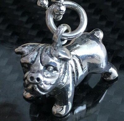 3D miniature Bulldog English French British Dog Sterling Silver Pendant Charm