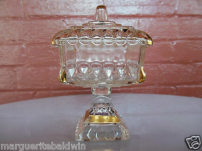 Jeannette Glass Clear Decorated with Gold Wedding Candy Footed Box & Cover