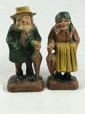 Vintage Syroco Composit Wood Old Man and Woman With Umbrellas