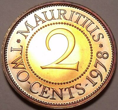Mauritius 2 Cents, 1978 Gem Proof~RARE~9,268 Minted~Free Shipping