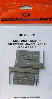 Quickboost 1:32 MiG-29A Fulcrum Intake Covers Resin For Trumpeter #QB32-091 B