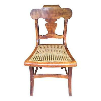 Antique Tiger Maple Side Chair Early American Country Furniture Folk Art