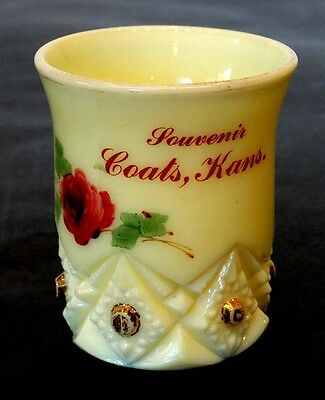 1910's ANTIQUE Vintage COATS Pratt KANSAS Custard Glass EAPG Souvenir TOOTHPICK