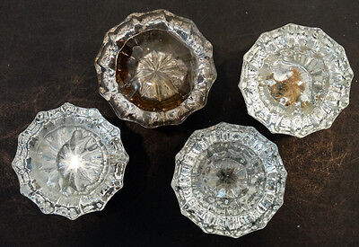 4 ANTIQUE Vintage 1800's Victorian EAPG Clear Pressed Glass DOOR KNOB HANDLE