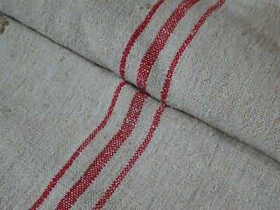 Antique European Feed Sack GRAIN SACK Red Stripes # 9472