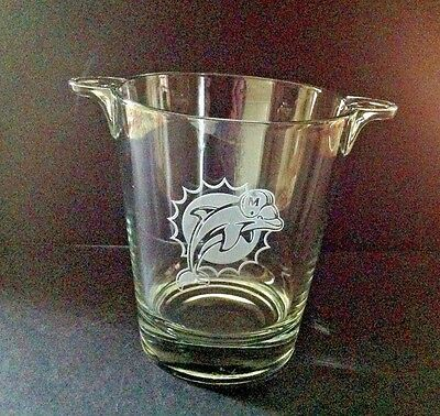 Vintage RARE Glass/Crystal Miami Dolphin Etched Logo Bar Ice Bucket w/2 Handles