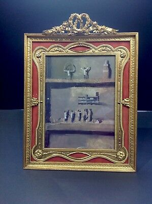 "large Frenc bronze enamel picture frame. 14"" by 10 1/2"" antique. original"