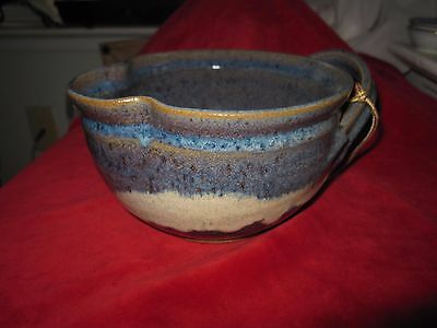 Hand Crafted Signed Studio Art Tri Color Blue/brown/cream Pottery