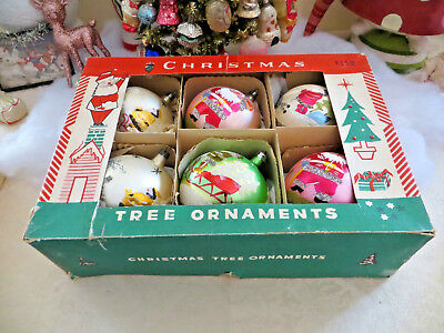 "Box 6 Vtg BEST JUMBO 4"" Poland Glass Xmas Tree Ornaments MICA Pink Santa Sleigh"