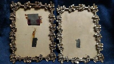 """Vtg Pair Antique G old Leaf Floral French 5by7"""" Ornate Oval Picture Photo Frame"""
