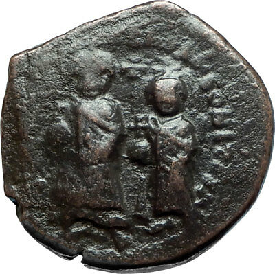 HERACLIUS & Son H Constantine Genuine 610AD Ancient Byzantine Follis Coin i66090
