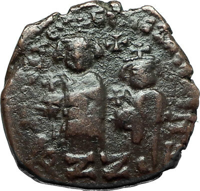 HERACLIUS & Son H Constantine Genuine 610AD Ancient Byzantine Follis Coin i66096