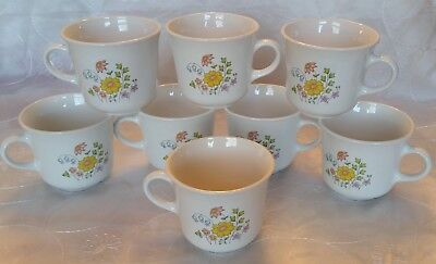 Vtg CORELLE Corning SPRING MEADOW Cups Mugs -Set 8- Floral Pink Yellow Blue VGVC