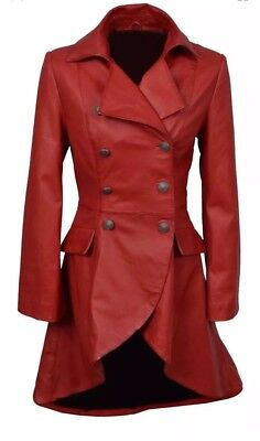 Edwardian Jess Women Red Victorian Real Laced Back Gothic Leather Jacket