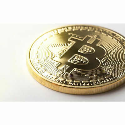 Bitcoin Gold Plated Round Bit Novelty Coin Bitcoin In Protective Acrylic Case US