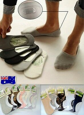 4 Pairs NO SHOW BAMBOO SOCKS Non Slip Heel Grip Low Cut Invisible Footlet New