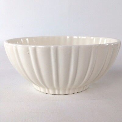 Vintage Haeger Pottery Ribbed Oval Bowl Planter White Ceramic 4020A USA