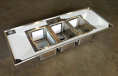 3 bowl large drop in sink with double drain boards